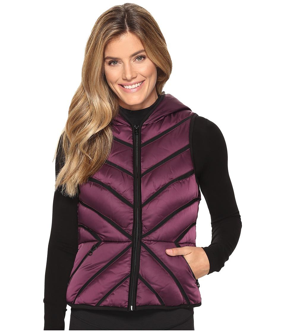 Blanc Noir - Mesh Inset Puffer Vest Satin (Blackberry) Women's Vest