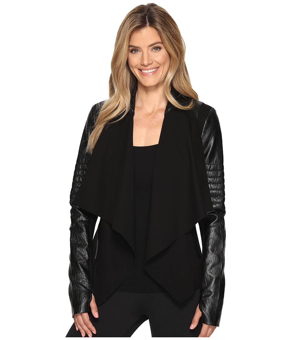 Blanc Noir - Drape Front Jacket (Black) Women's Coat