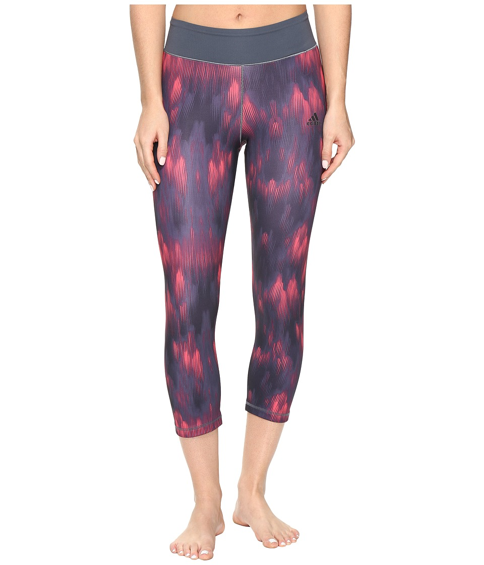 adidas - 3/4 Print Tights (Blue/Red Print) Women's Workout
