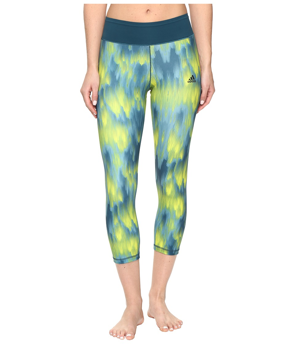 adidas - 3/4 Print Tights (Green Print) Women's Workout