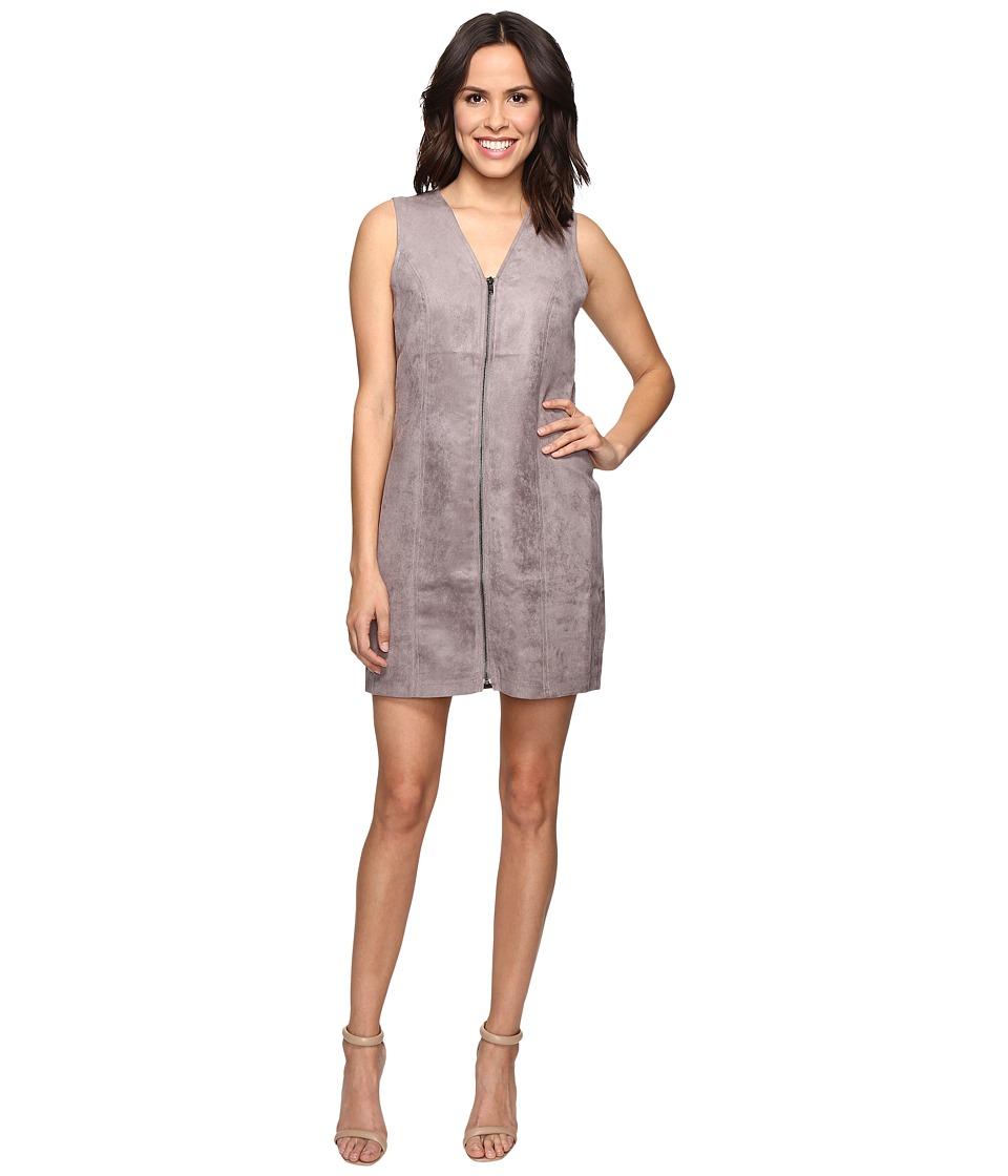Brigitte Bailey Bishop Faux Suede Front Zip Dress (Soot) Women