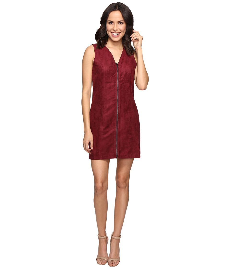 Brigitte Bailey Bishop Faux Suede Front Zip Dress (Dried Rose) Women