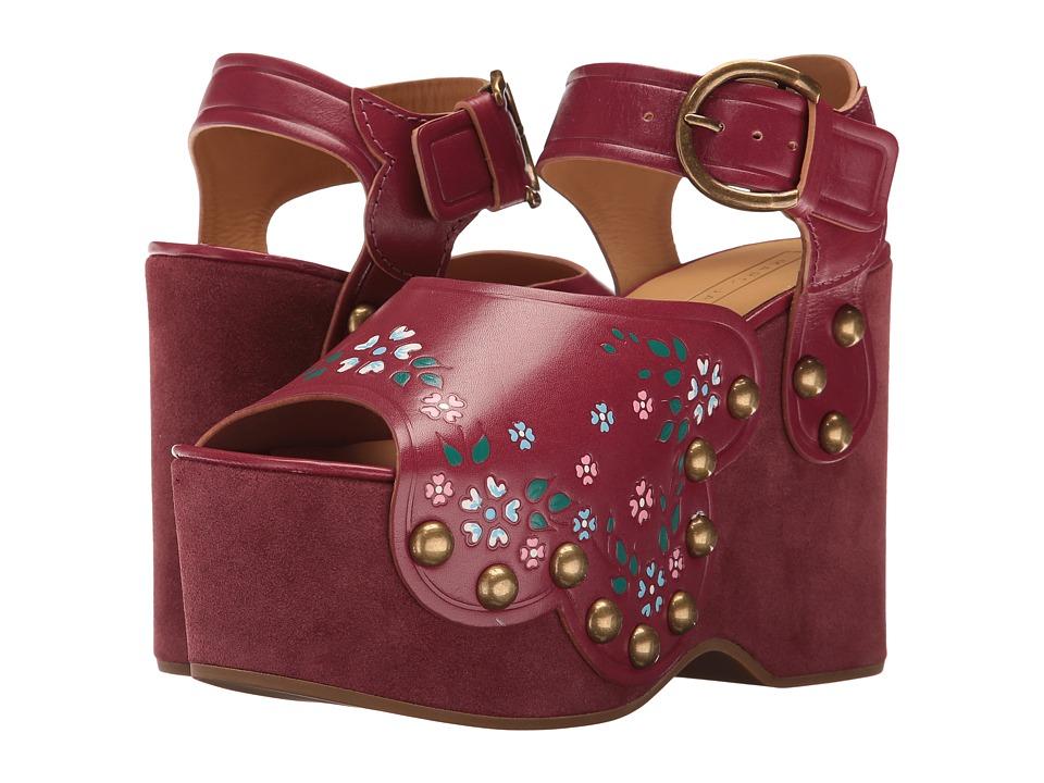 Marc Jacobs - Dawn Wedge Sandal (Wine) Women's Wedge Shoes
