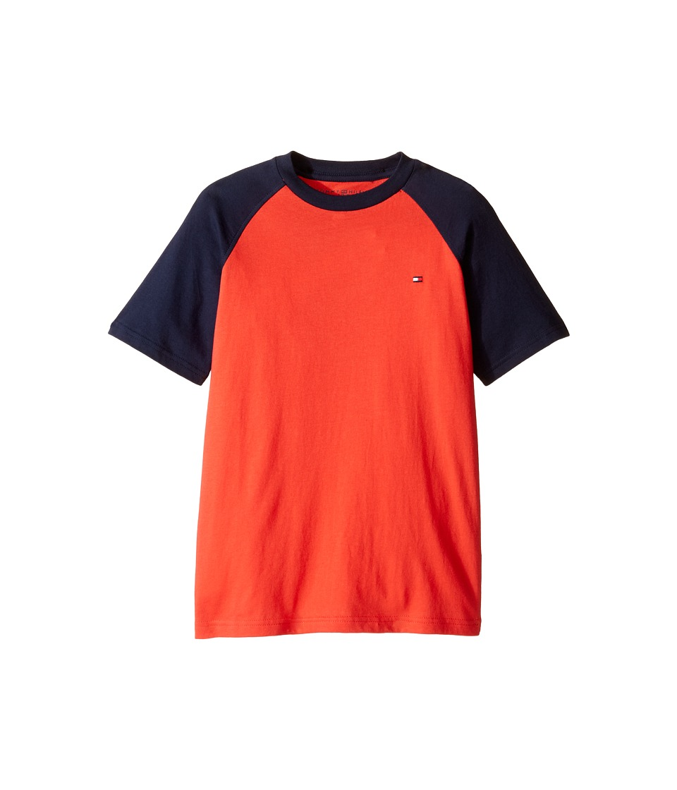Tommy Hilfiger Kids - Gordon Short Sleeve Raglan Tee (Big Kids) (Holly Red) Boy's T Shirt