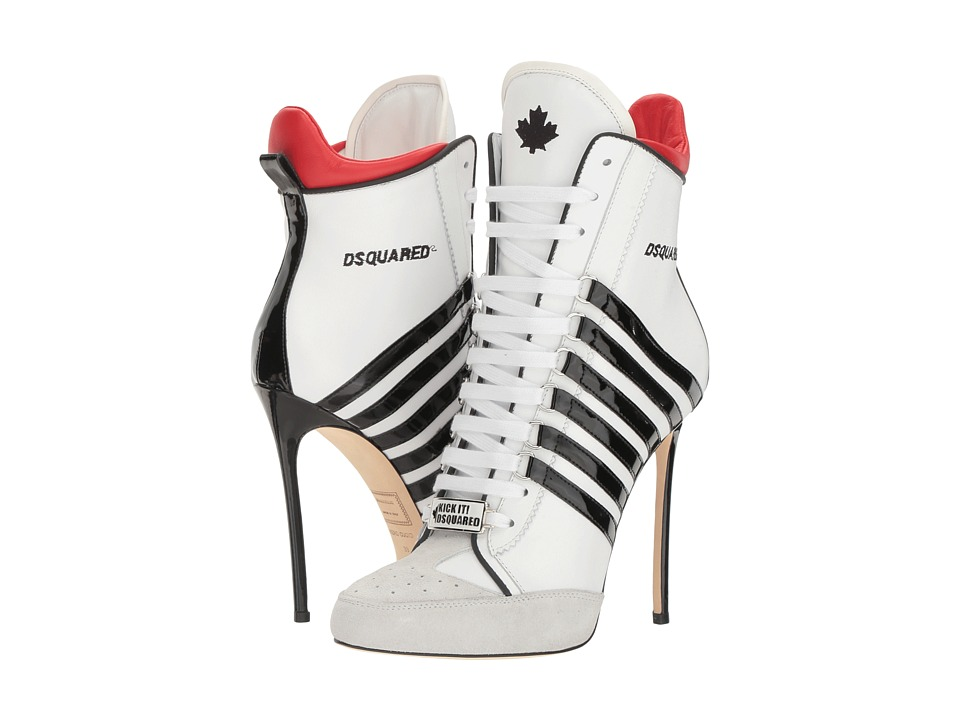 DSQUARED2 - Vitello Vernice Ankle Boot (Bianco Nero) Women's Lace-up Boots