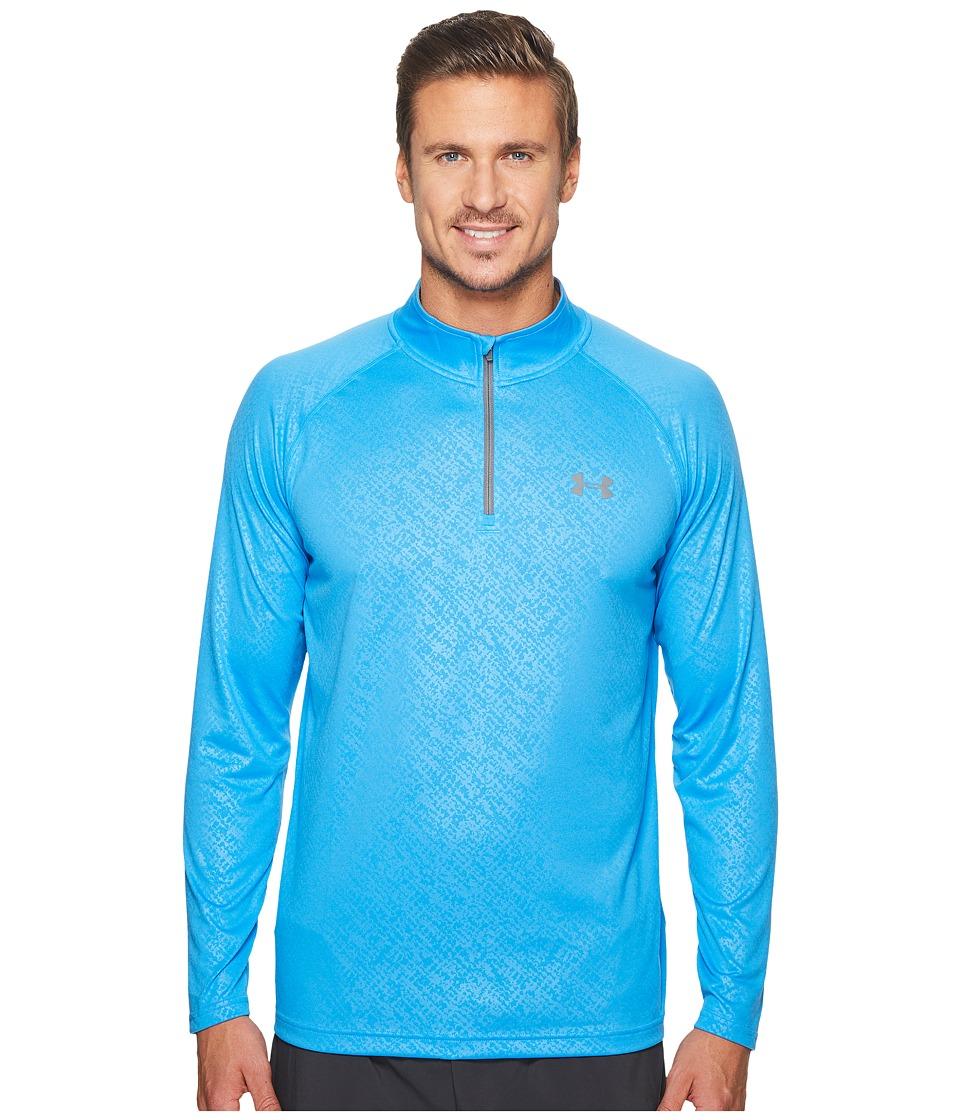 Under Armour - UA Tech Emboss 1/4 Zip (Stealth Gray/Blue Shift) Men's Clothing