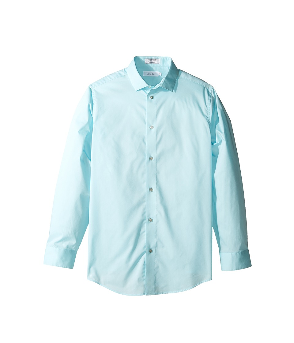 Calvin Klein Kids - Long Sleeve Solid Stretch Poplin Shirt (Big Kids) (Light Teal) Boy's Clothing