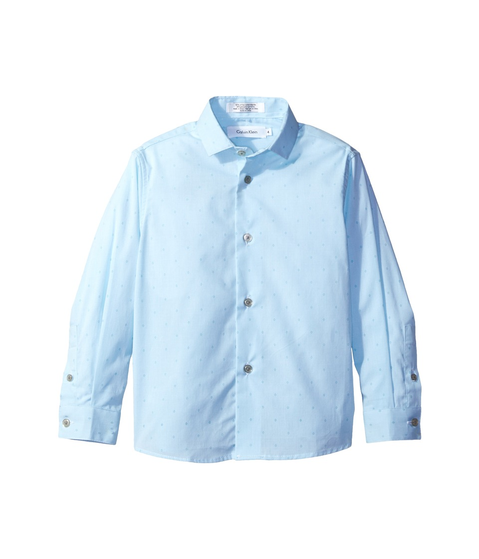 Calvin Klein Kids - Long Sleeve Diamond Dobby Shirt (Little Kids) (Bright Blue) Boy's Clothing