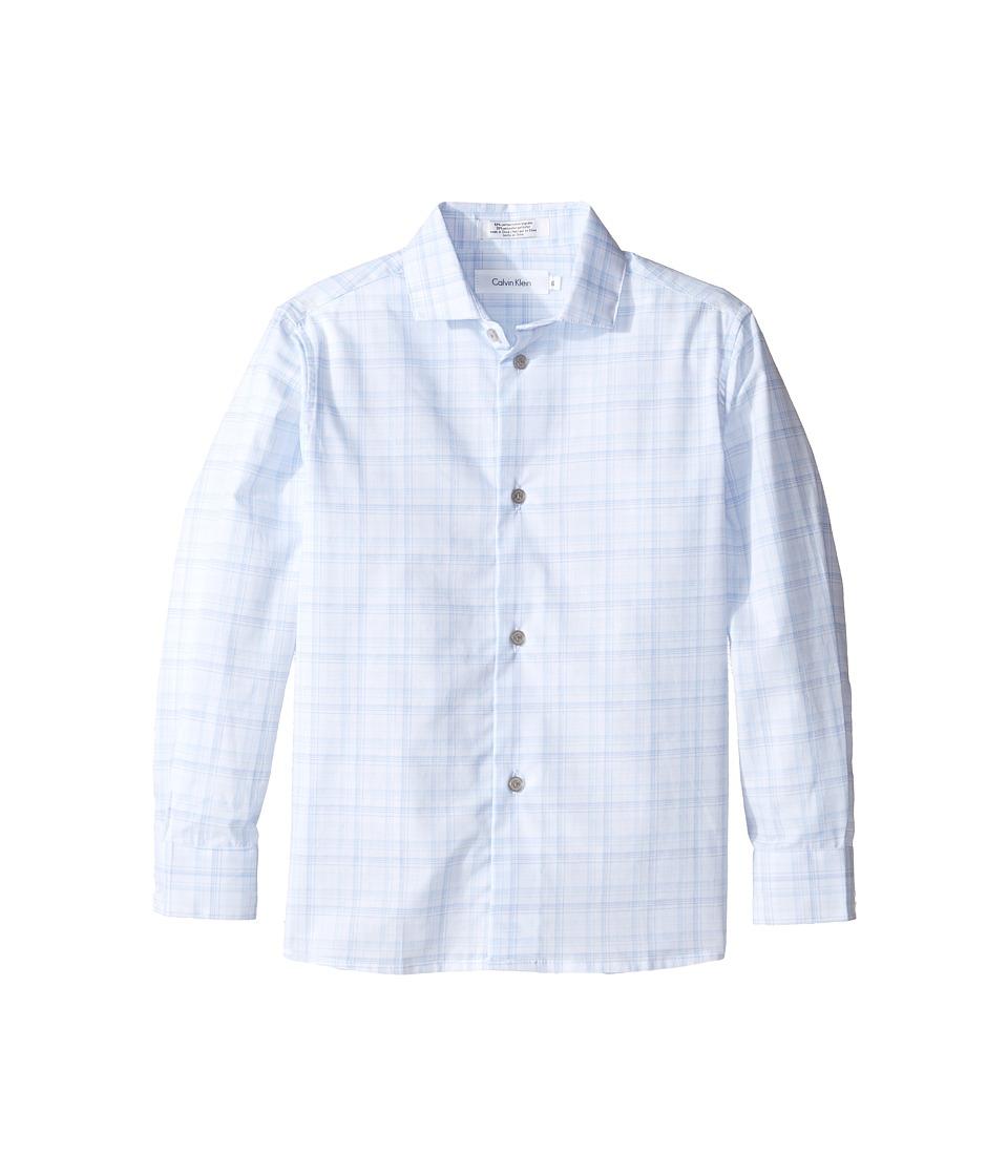Calvin Klein Kids - Long Sleeve Fine Line Plaid Shirt (Little Kids) (Dark Blue) Boy's Clothing