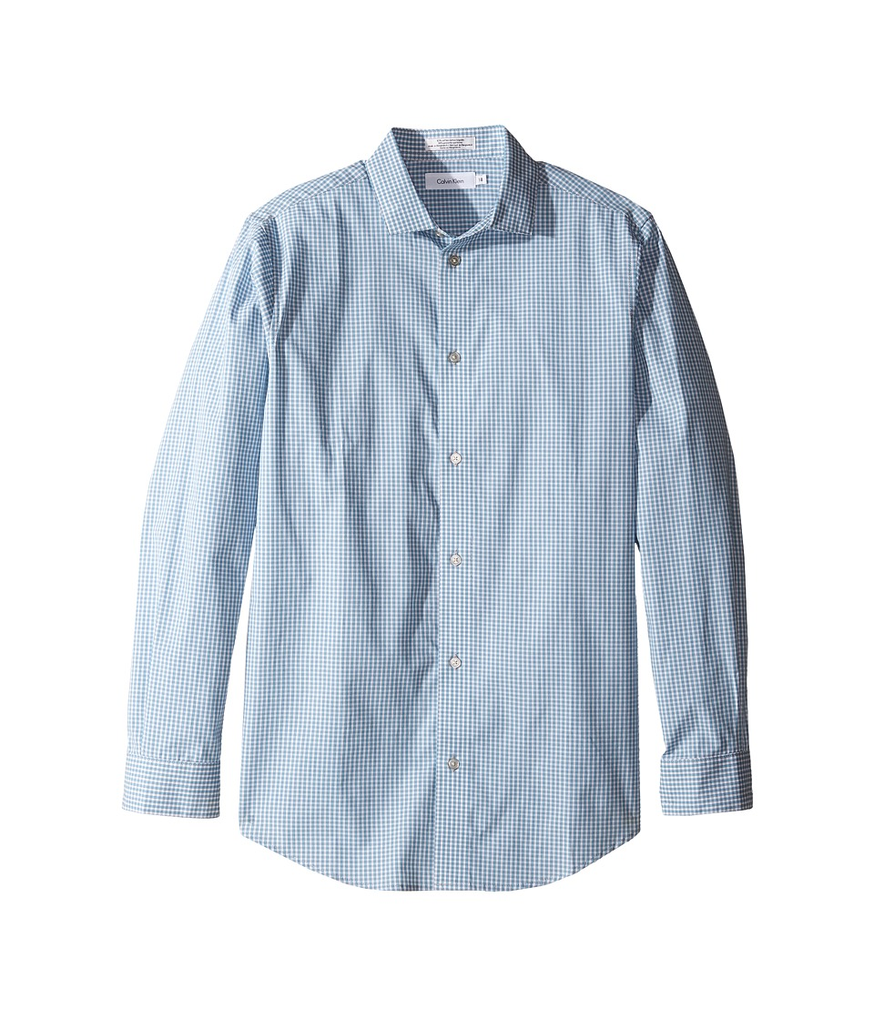 Calvin Klein Kids - Long Sleeve Gingham Shirt (Big Kids) (Medium Teal) Boy's Clothing