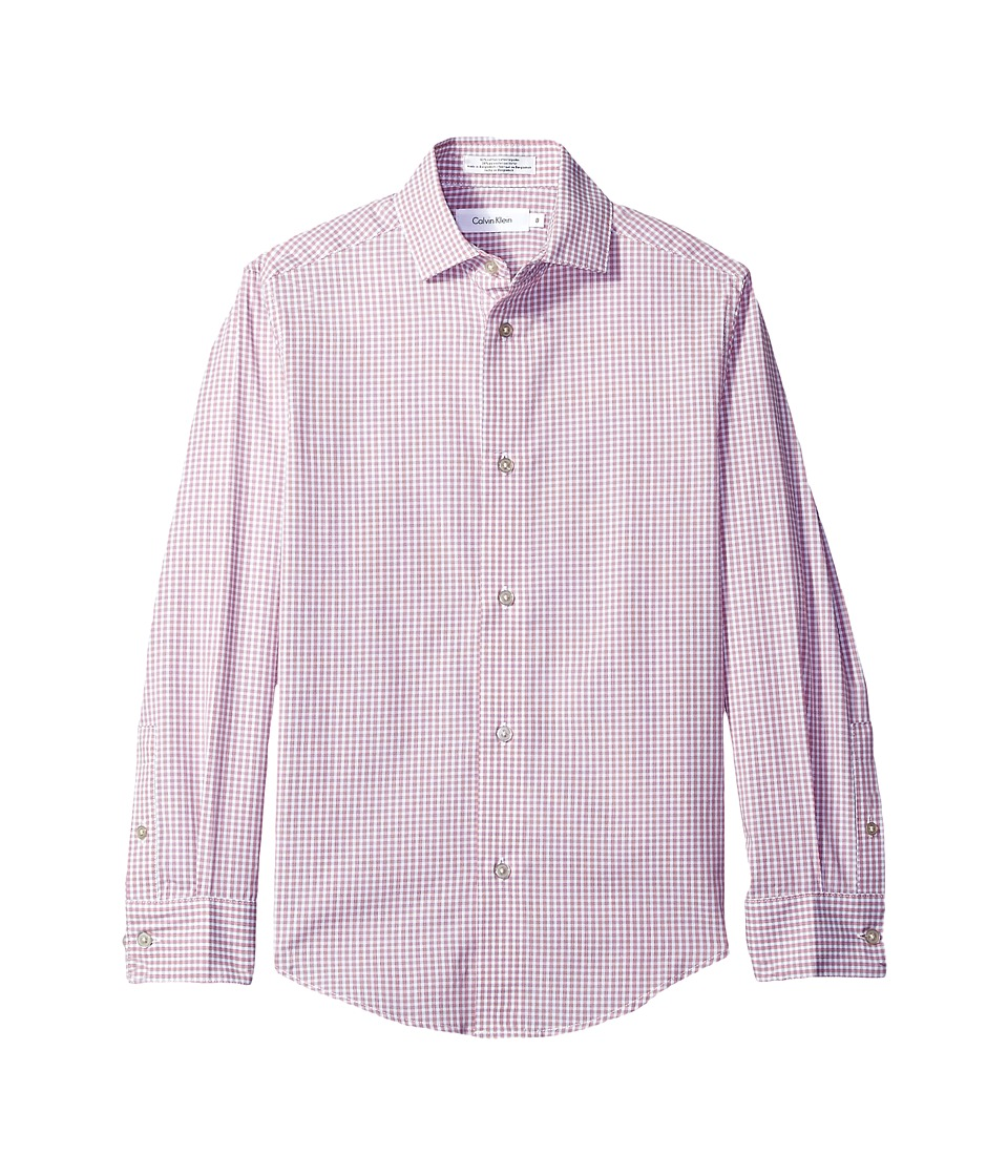 Calvin Klein Kids - Long Sleeve Gingham Shirt (Big Kids) (Pink) Boy's Clothing