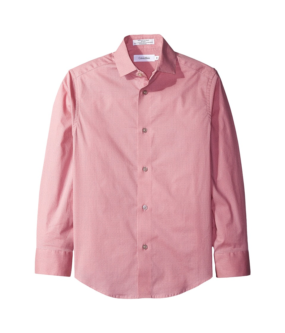 Calvin Klein Kids - Long Sleeve Geometric Shirt (Big Kids) (Medium Pink) Boy's Clothing