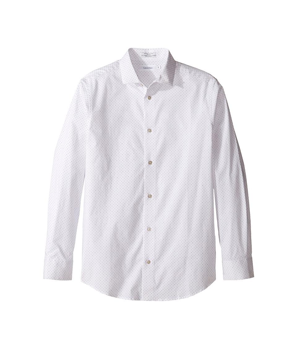 Calvin Klein Kids - Long Sleeve Dot Print Shirt (Big Kids) (White) Boy's Clothing