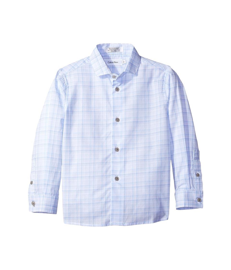 Calvin Klein Kids - Long Sleeve Fine Line Plaid Shirt (Big Kids) (Dark Blue) Boy's Clothing