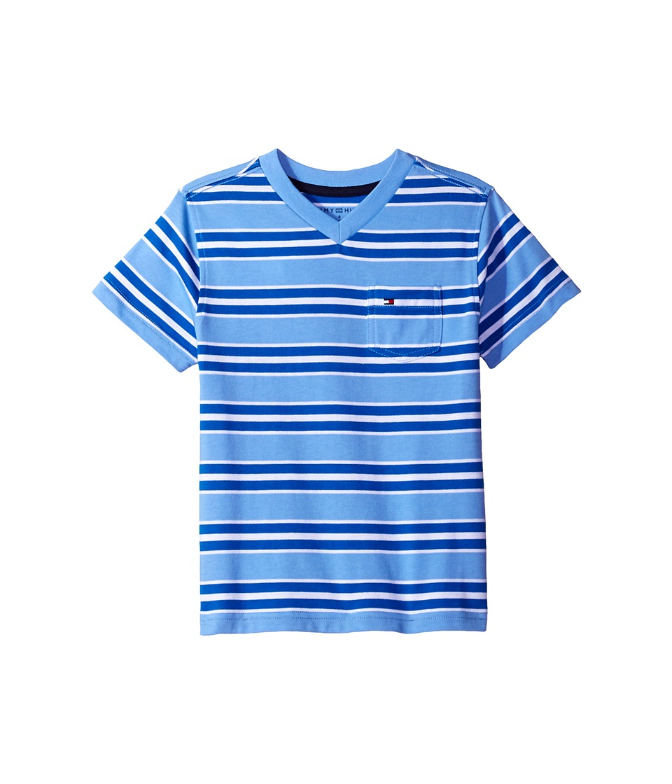 Tommy Hilfiger Kids - Bruce Stripe Crew Tee with Pocket (Toddler/Little Kids) (Summer Blue) Boy's T Shirt