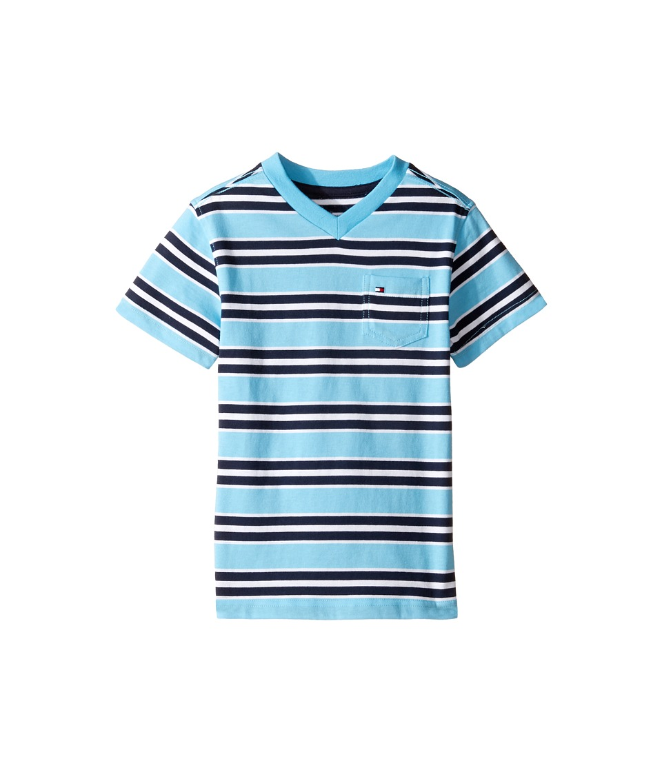 Tommy Hilfiger Kids - Bruce Stripe Crew Tee with Pocket (Toddler/Little Kids) (Zen Blue) Boy's T Shirt