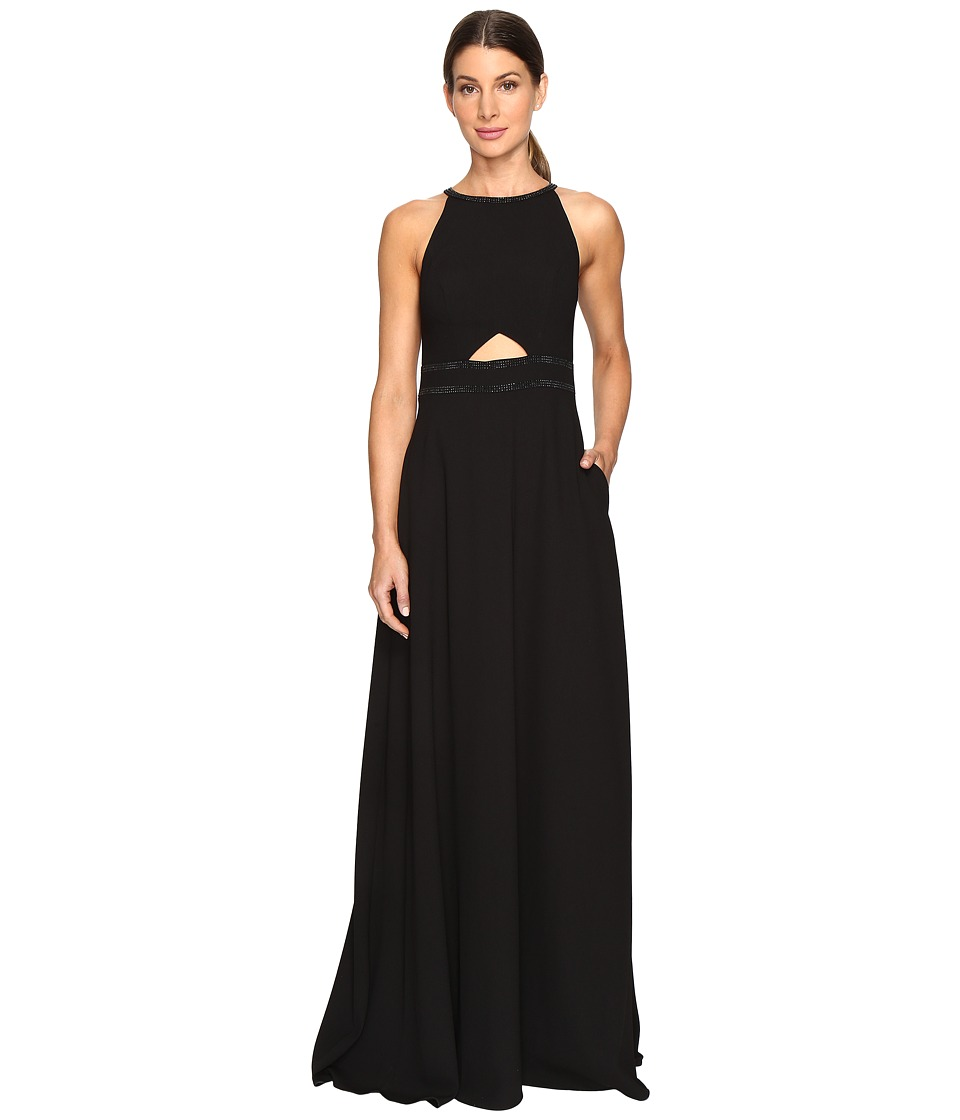 Aidan Mattox Heat Set Crepe Cut Out Gown Black Dress