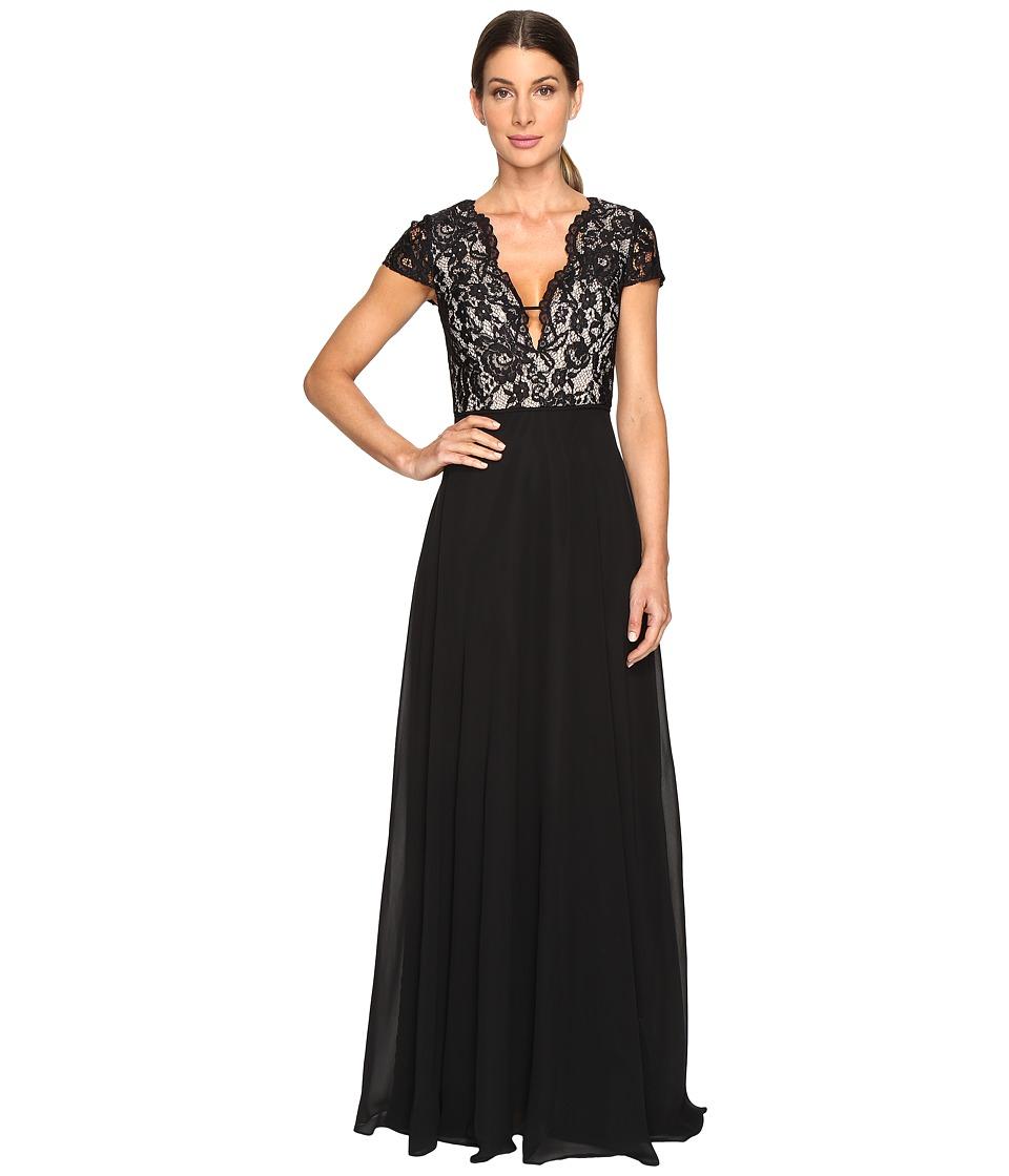 Aidan Mattox - Lace and Chiffon Gown (Black/Nude) Women's Dress