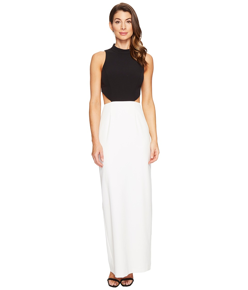 Aidan Mattox - Crepe Column Gown (Black/Ivory) Women's Dress