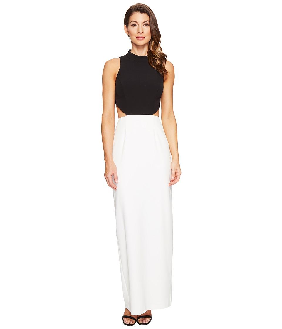 Aidan Mattox - Crepe Column Gown (Black/Ivory) Women's Dress