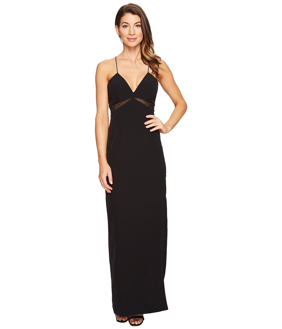 Aidan Mattox Spaghetti Strap Crepe Gown (Black) Women