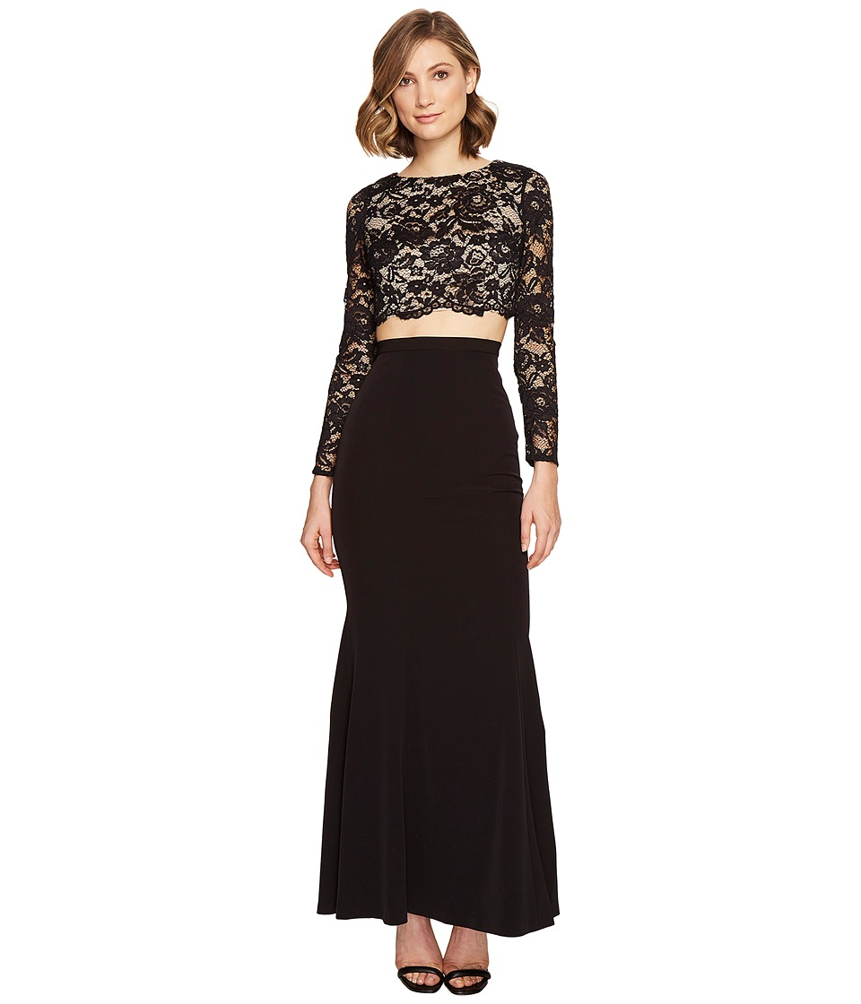 Aidan Mattox Lace and Crepe Gown Black-Nude Dress
