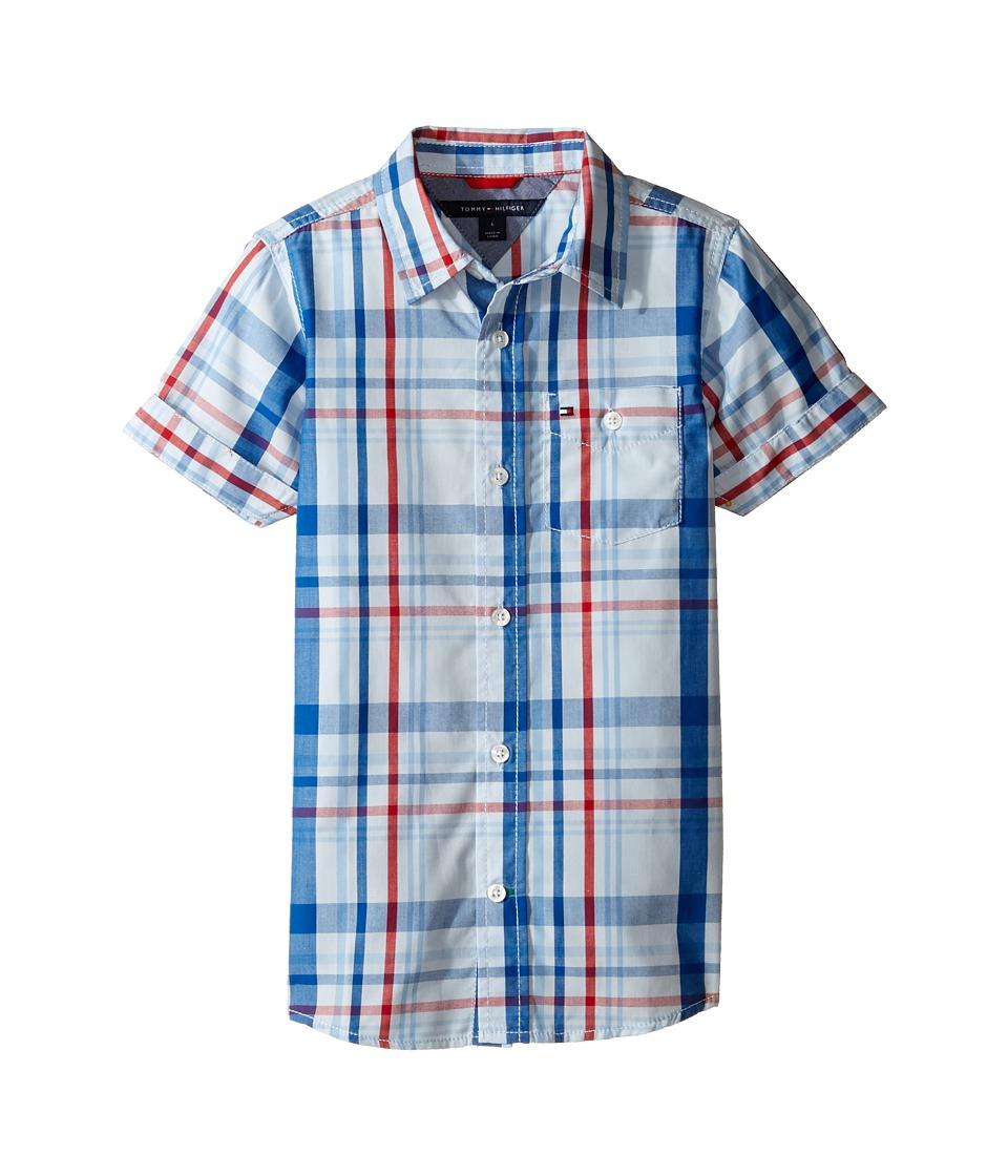 Tommy Hilfiger Kids - Corbin Short Sleeve Plaid Shirt (Toddler/Little Kids) (Symphony Blue) Boy's Clothing