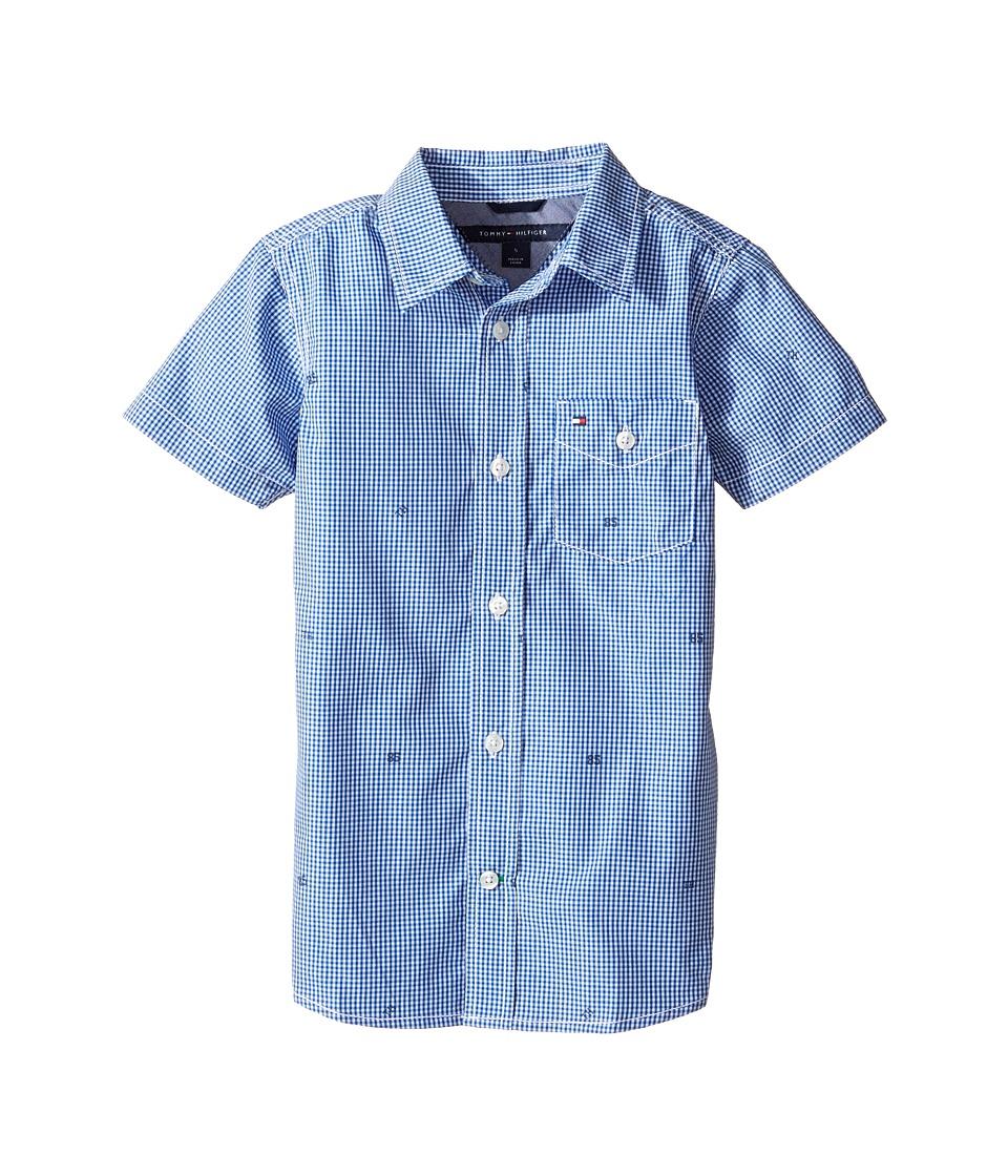 Tommy Hilfiger Kids - Charlie Short Sleeve Plaid Shirt (Toddler/Little Kids) (Deep Dive Blue) Boy's Clothing
