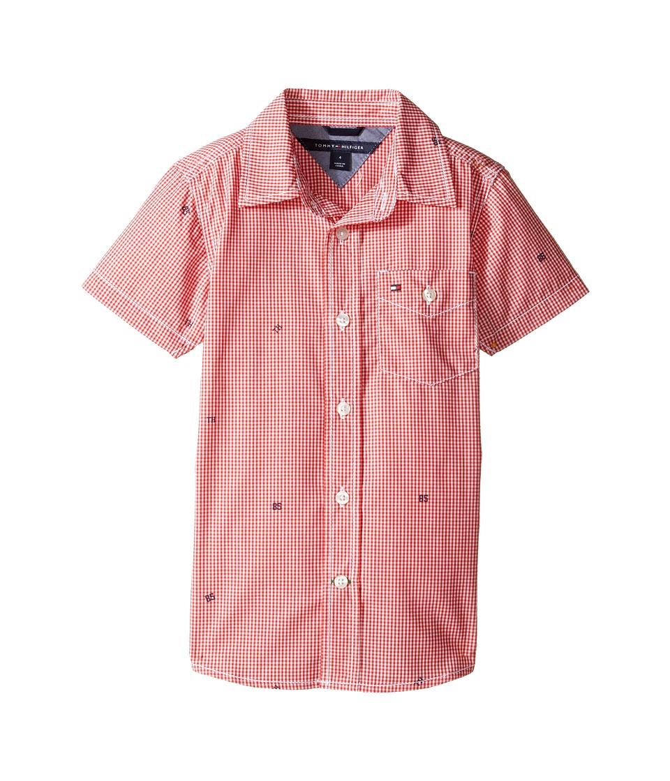 Tommy Hilfiger Kids - Charlie Short Sleeve Plaid Shirt (Toddler/Little Kids) (Hibiscus Tea) Boy's Clothing