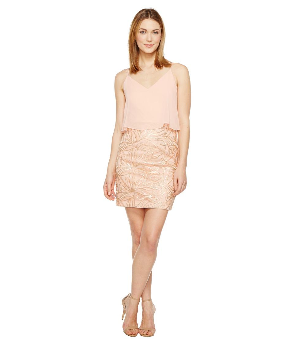 Aidan Mattox Embroidered Popover Dress (Rose Gold) Women