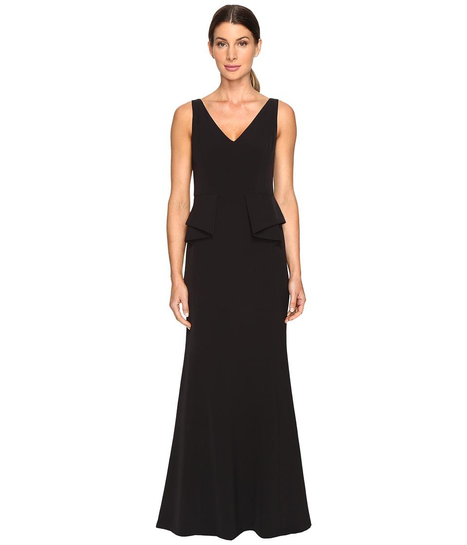 Aidan Mattox Deep-V Crepe Peplum Gown (Black) Women