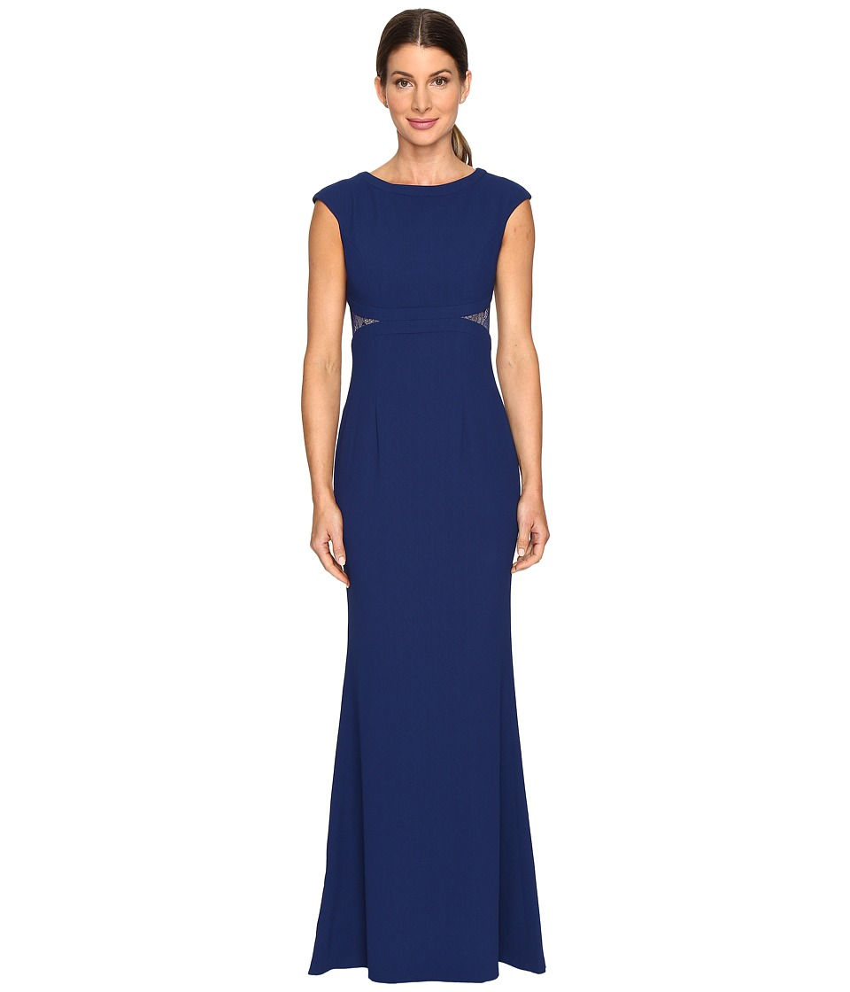 Aidan Mattox Crepe and Lace Gown (Navy) Women