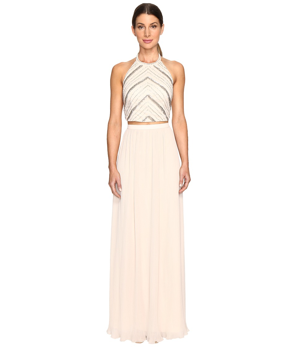 Aidan Mattox Hand Beaded Crop Top Gown (Champagne) Women