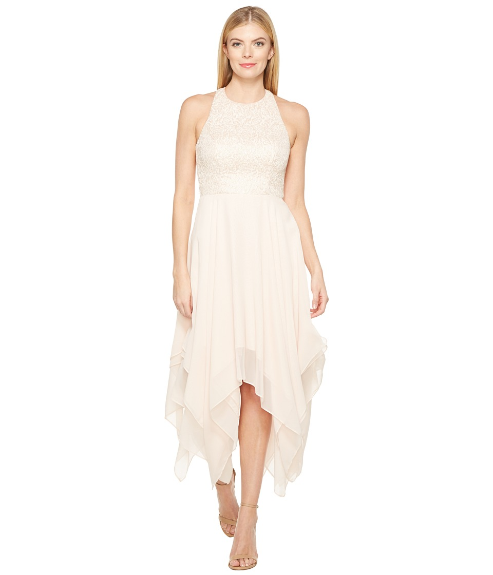 Aidan Mattox Jacquard Draped Chiffon Dress