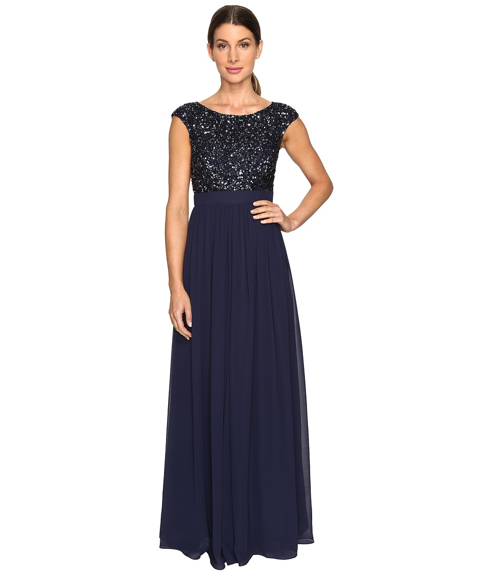 Aidan Mattox Beaded and Georgette Gown (Twilight) Women