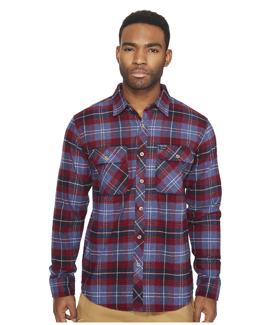 Brixton - Bowery Long Sleeve Flannel (Navy Plaid) Men's Long Sleeve Button Up