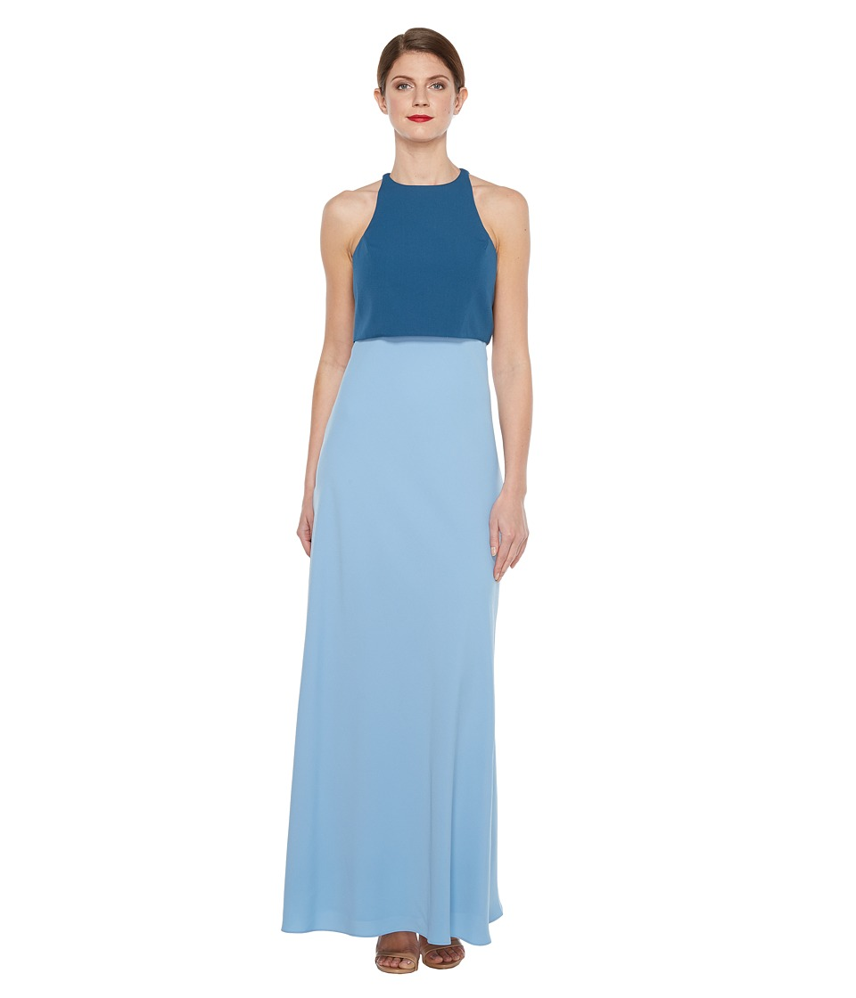 JILL JILL STUART - Two-Tone Pop Over 2-Ply Crepe Gown (Coastal/Sparrow Blue) Women's Dress