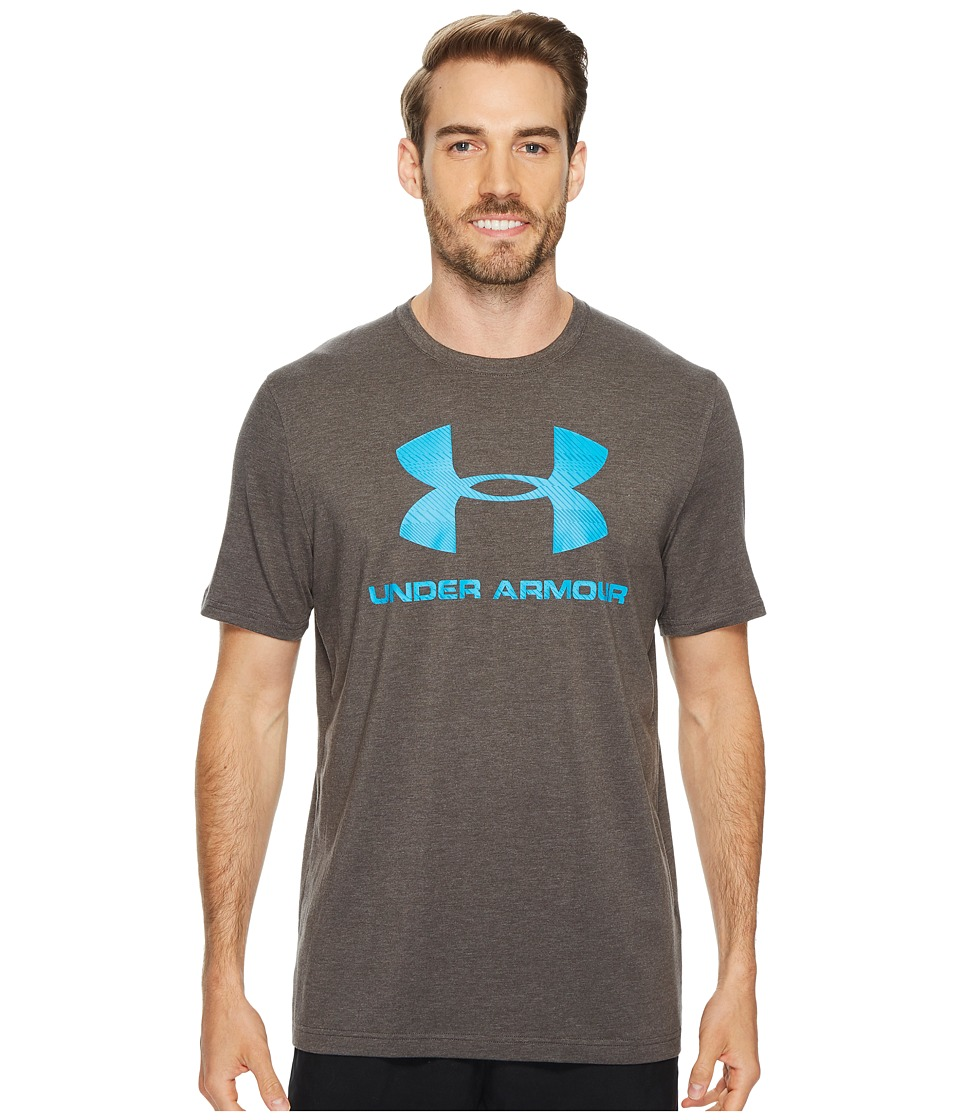 Under Armour - Charged Cotton(r) Sportstyle Logo (Charcoal Medium Heather/Blue Shift) Men's T Shirt
