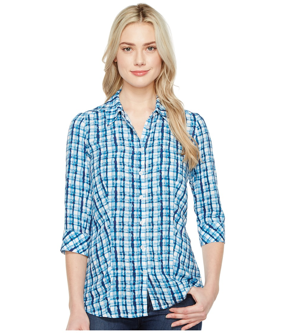 FDJ French Dressing Jeans - Painterly Plaid Top (Indigo) Women's Long Sleeve Button Up