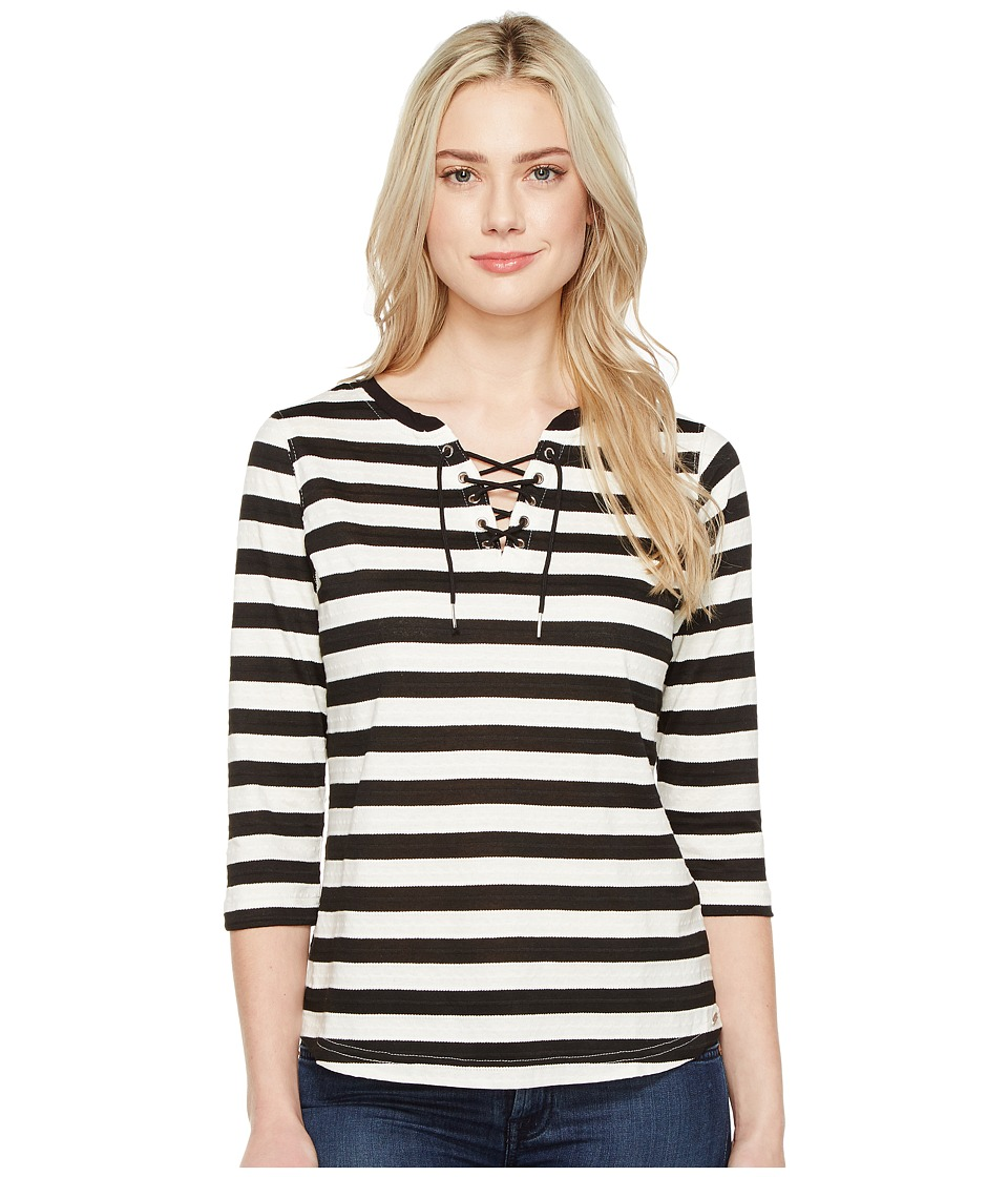 FDJ French Dressing Jeans - Stripe Jacquard 3/4 Sleeve Top (Black/White) Women's Long Sleeve Pullover