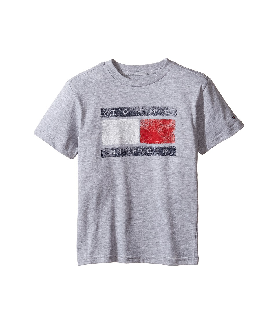 Tommy Hilfiger Kids - Tommy Flag Tee (Toddler/Little Kids) (Grey Heather) Boy's T Shirt
