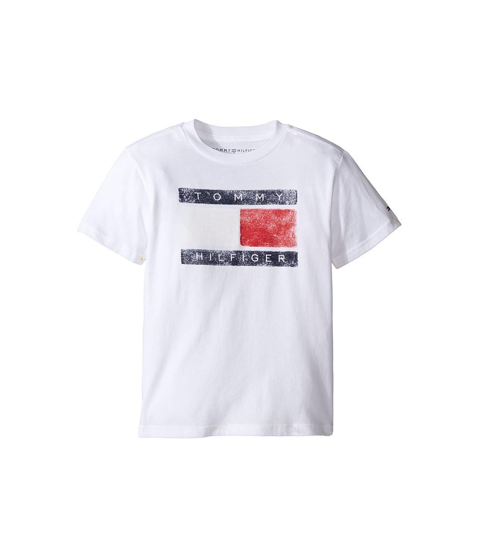 Tommy Hilfiger Kids - Tommy Flag Tee (Toddler/Little Kids) (White) Boy's T Shirt