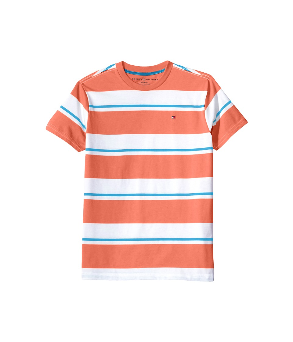 Tommy Hilfiger Kids - James Stripe Crew Tee (Toddler/Little Kids) (Fiery Coral) Boy's T Shirt