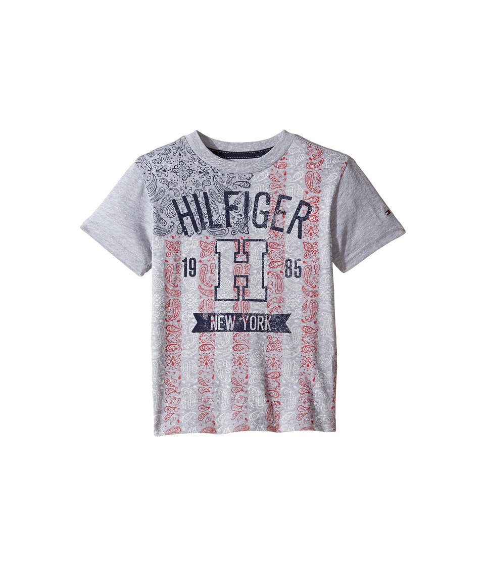 Tommy Hilfiger Kids - Paisley Flag Tee (Toddler/Little Kids) (Grey Heather) Boy's T Shirt