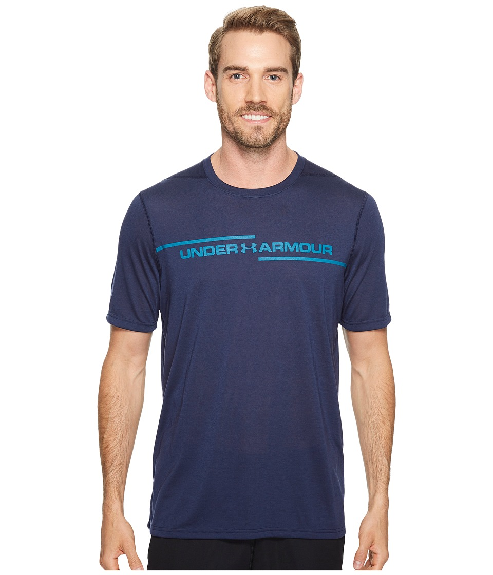 Under Armour - Threadborne Cross Chest Short Sleeve (Midnight Navy/Bayou Blue) Men's Clothing