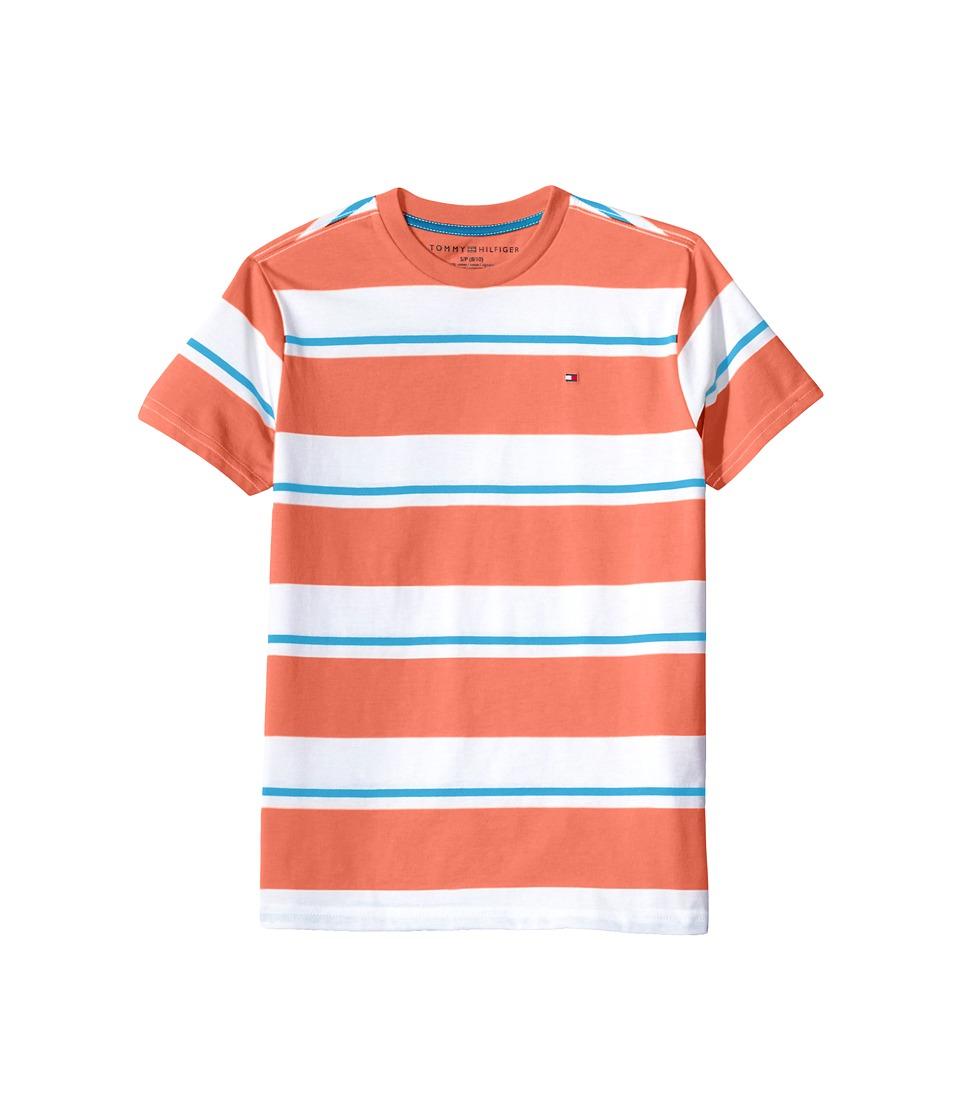 Tommy Hilfiger Kids - James Stripe Crew Tee (Big Kids) (Fiery Coral) Boy's T Shirt