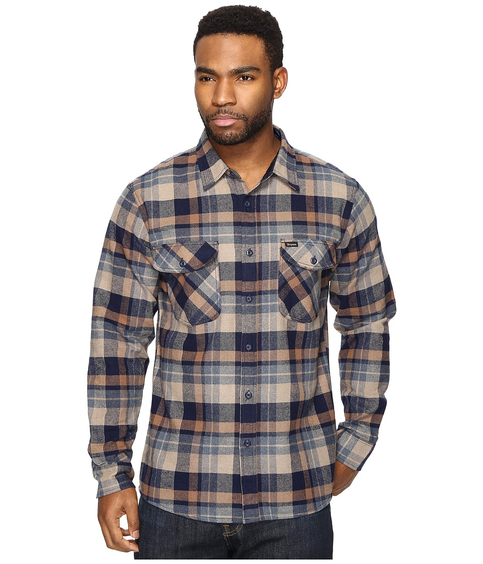Brixton - Flynn Long Sleeve Flannel (Navy/Khaki) Men's Clothing