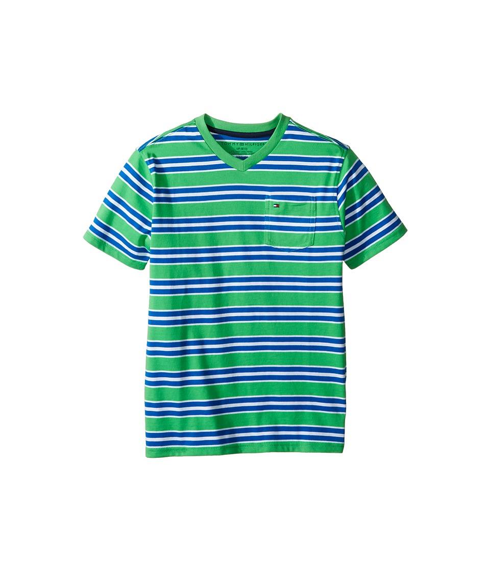 Tommy Hilfiger Kids - Bruce Stripe Crew Tee with Pocket (Big Kids) (Gunwale Green) Boy's T Shirt