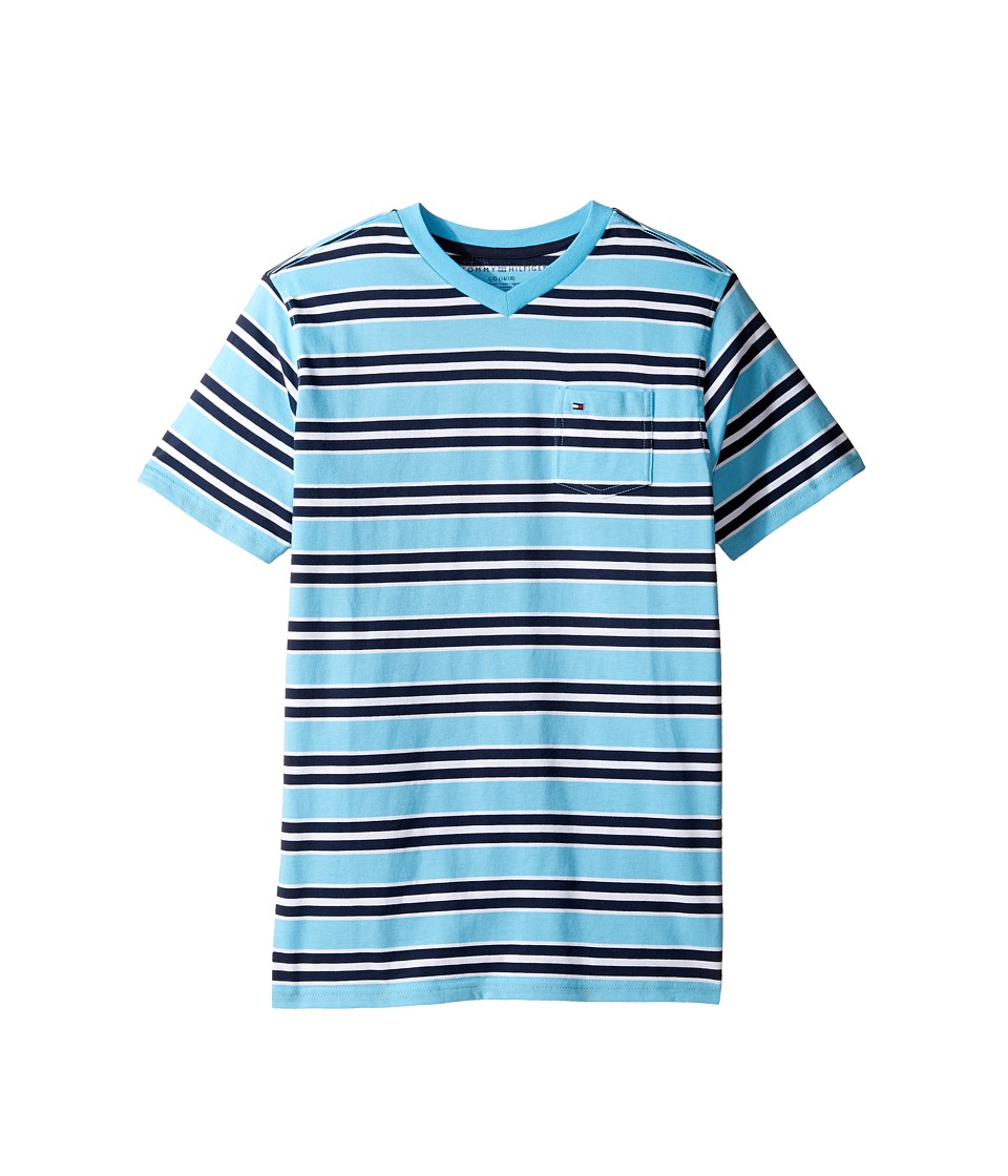 Tommy Hilfiger Kids - Bruce Stripe Crew Tee with Pocket (Big Kids) (Zen Blue) Boy's T Shirt