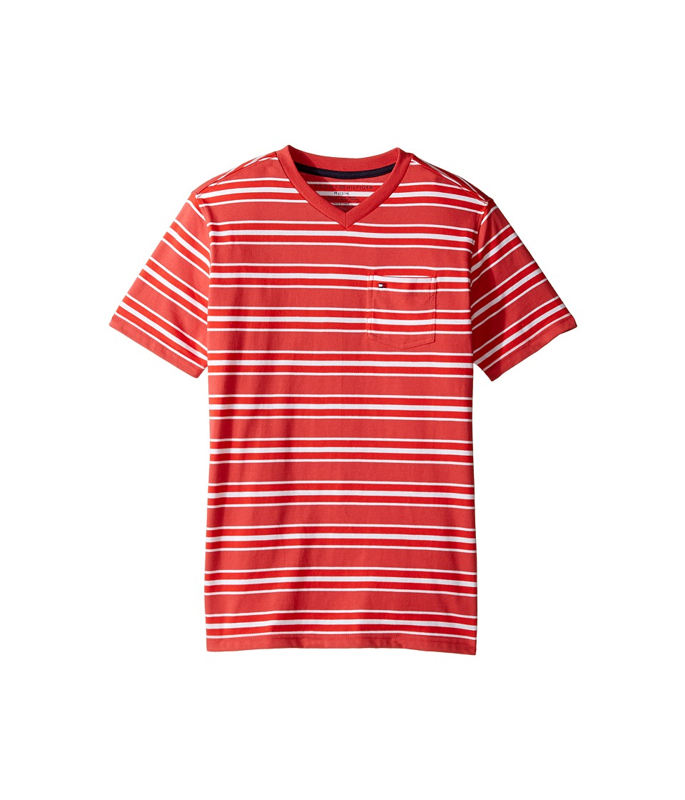 Tommy Hilfiger Kids - Bruce Stripe Crew Tee with Pocket (Big Kids) (Red Geranium) Boy's T Shirt